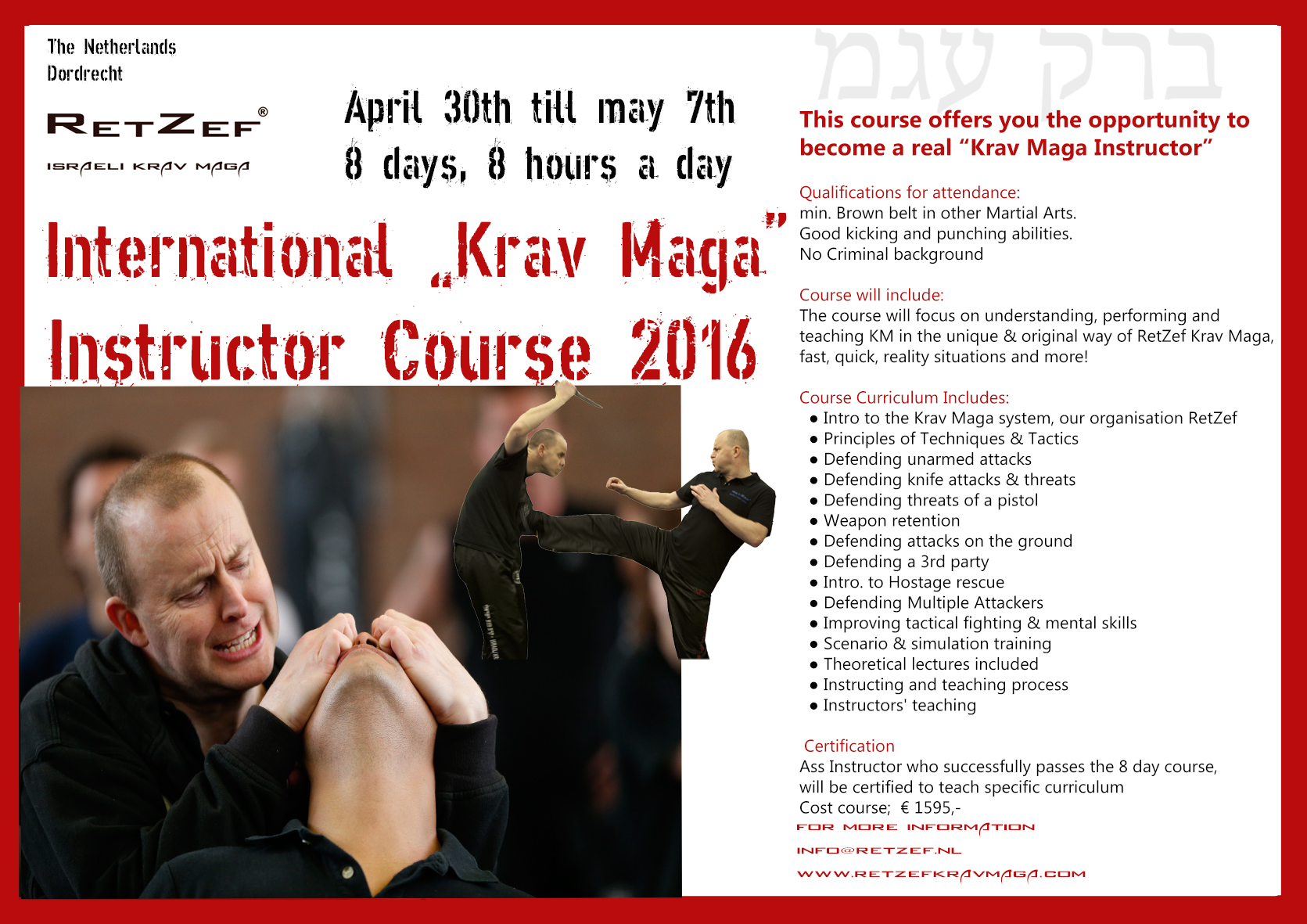 Uitnodiging  instructeurs cursus Krav Maga 30 April Retzef